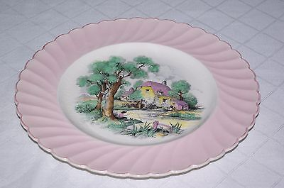 Clarice Cliff Royal Staffordshire 10  Plate Pink Country Cottage Riverside Scene • 15£