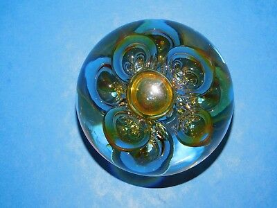 Langham Glass Clear Paperweight With Gold Air Bubbles England • 22.99£