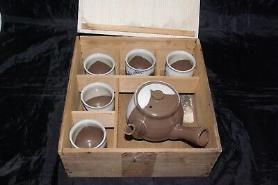 Chinese Yixing Glazed Handpainted Boxed Teaset Side Handle Teapot 5 Cups  • 75£