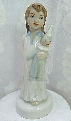 ROYAL DUX  Czech Porcelain Figure Of A Girl In A Nightdress Holding A Clown Doll • 125£