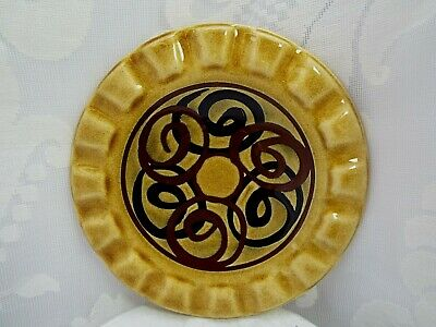 Retro BRIXHAM POTTERY Hand Thrown Ashtray With Hand Painted Black & Brown Swirls • 4£