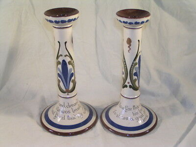 Pair Of Torquay Motto Ware Pottery Candlesticks 9.25  Inch • 65£