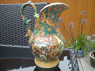 Chinese Pottery Jug/Ewer With Panels Of Male & Female Figures Floral Decoration. • 12£