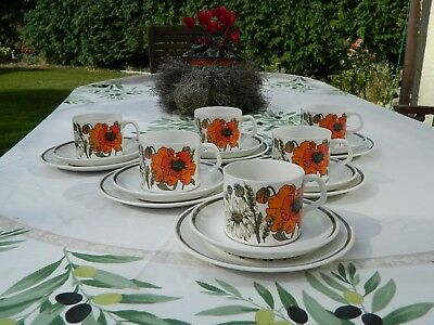 Vintage J. & G Meakin Studio 'poppy' 18 Piece Tea Set • 17.50£