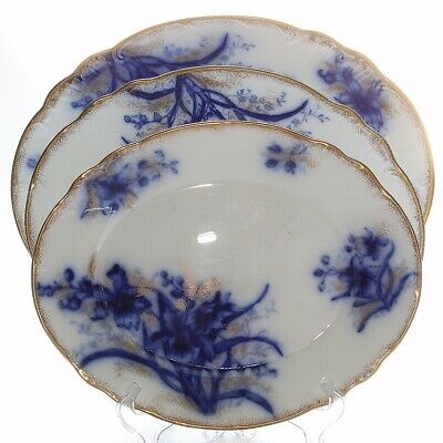 Antique John Maddock & Sons, Orchid Blue Flow, 3 X Graduated Jumbo Platters • 90£