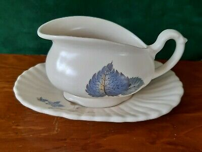 Vintage Axe Vale Small Sauce Boat And Underplate - Blue Leaves. • 4.50£