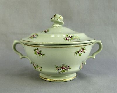Antique 1830 Ridgway Sugar Bowl With Lid Hand Painted Floral Cabbage Rose Knob • 63.26£