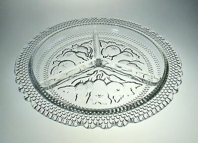 Pressed Glass 8.5 Inch Divided Round Relish Dish Fruit Bubble Pattern Unknown • 14.22£