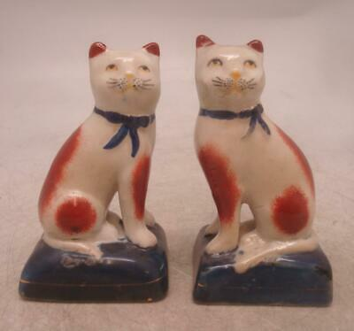 Staffordshire Pottery Pair Of Figures - Seated Cats With Ribbon Collars • 12.99£
