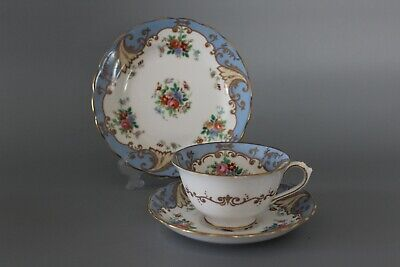Tuscan Plant R5486 Turquoise Ground Plate Cup & Saucer Trio  • 20£