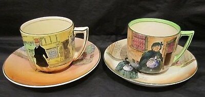 Two Rare Royal Doulton Dickens Ware Cups & Saucers - Sairey Gamp & Mr Micawber • 30£
