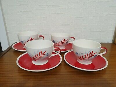 Wade Woodmist Red Cup & Saucer - Set Of 4 - 1950s • 7.99£
