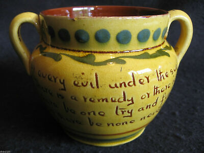VICTORIAN ALLER VALE 5.5  HANDLED VASE 'Abbots Kerswell' DAISY MOTTO C1880's  • 29.99£