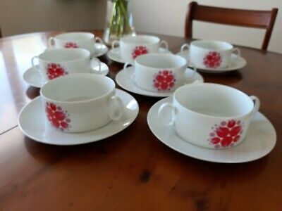 7 Vintage Thomas  Red Flower Soup Coupes And Saucers • 19.50£