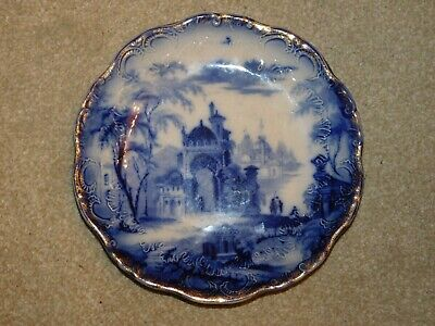 Antique Flow Blue Gilded Plate Indian Temples Grottoes Grand Tour? • 39.99£