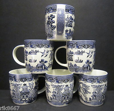 6 A Set Of Six Willow Pattern Dream Mugs  By Churchill England • 24.95£