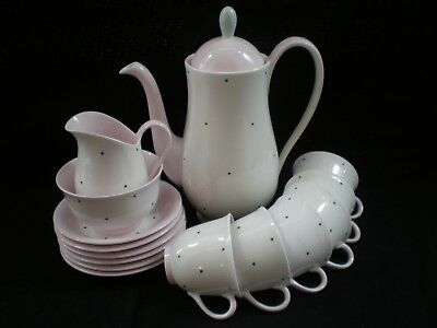 Vintage Queen Anne China Polka Dot Coffee Set [46] • 29.50£