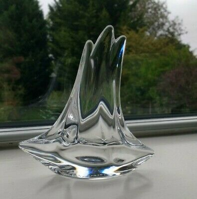 French Daum Art Crystal Glass  -  Small Sailing Boat  -  Signed  • 125£