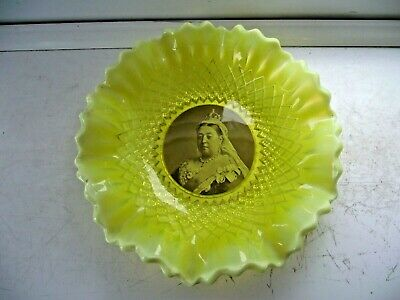 Queen Victoria Vaseline Glass Large Bowl Rdno 254027 Dating 1895 Excellent • 179.50£
