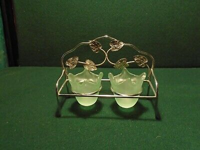 Bagley Frosted Green Glasses In A Chrome Leafed Stand • 12£