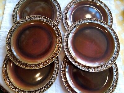 VINTAGE SlyvaC BROWN TOTEM SET OF 6 DINNER PLATES-beautiful Collectables GC • 35£