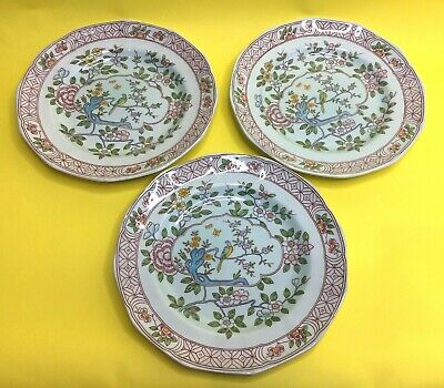 3 X Vintage Calyx Ware Micratex Ironstone Plates By Adams Singapore Bird • 20£