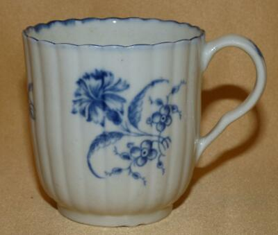 Worcester Blue & White Gilliflower Coffee Cup C1770-80 • 65£