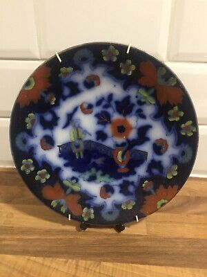 "Antique ROYAL STAFFORDSHIRE BURSLEM Flow Blue Chinese Scene 9"" Plate Red Blue • 7.99£"