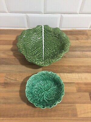 Portuguese Majolica Cabbage Leaf Large Bowl And Small Bowl • 16.99£