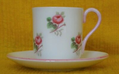 MINIATURE SHELLEY Bridal Rose CUP & SAUCER, Pink Trim #13545, 1950's - 2 • 33£
