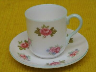 MINIATURE SHELLEY Pink Roses CUP & SAUCER, Green Trim, 1950's • 33£
