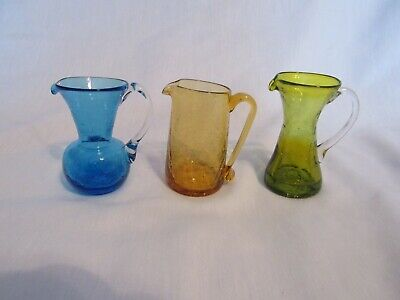 Vintage Lot Of 3 Small Crackle Glass Pitchers Various Makers One Blenko • 21.45£
