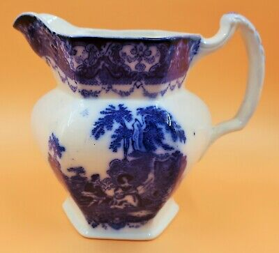 Antique Flow Blue New Wharf Pottery Watteau Hexagonal 1.5 Pt Jug / Pitcher. • 28.50£