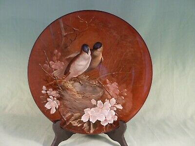 Watcombe Hand Painted Terracotta Plate With Birds Pair Nesting Bluebirds 11  Di • 50£
