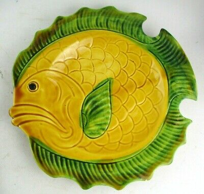 Vintage Retro Vallauris French Majolica Style Pottery Fish Plate • 18.99£