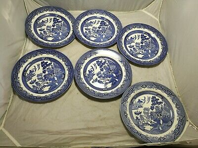 6 X Churchill ~Blue & White Pattern ~Dinner Plates ~10  Diameter ~VGC (SC18) • 17.95£