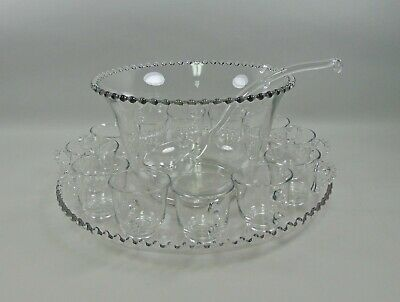 15pc Set Imperial Glass CANDLEWICK Glass Punch Bowl,Under Plate,Ladle,12 Cups • 159.44£
