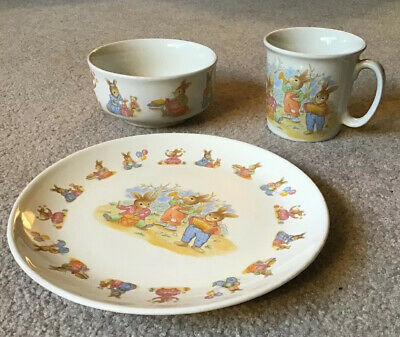 Children's Bunny Rabbit 3 Pc. Dish Set- Cup, Bowl & Plate • 9.91£