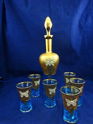 Stunning Glass Decanter & Six Glasses Blue & Gold With Floral Decoration • 24.99£