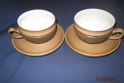 Denby Cotswold 2 Tea Cups And Saucers Very Good Condition • 2.99£