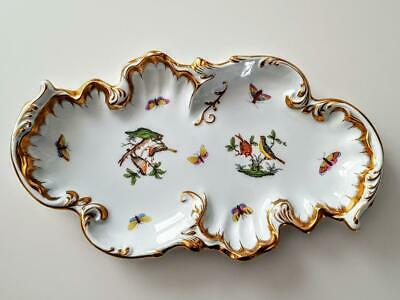 Large 12.85 Inch Herend Rothschild Bird Richly Gilded Rococo Dish - Ist Quality • 75£
