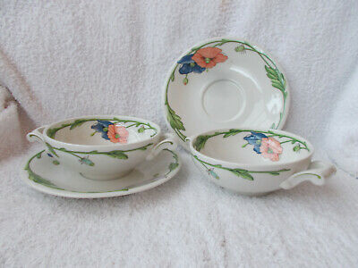 Villeroy & Boch Amapola - 2 Soup Cups With Handles Plus Saucers • 19.99£