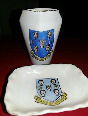 Crested China - Arms Of Reading- Dish And Vase • 5.49£