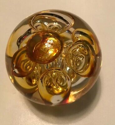 Vintage Langhams England Bubbles Yellow Glass Paper Weight • 2.50£