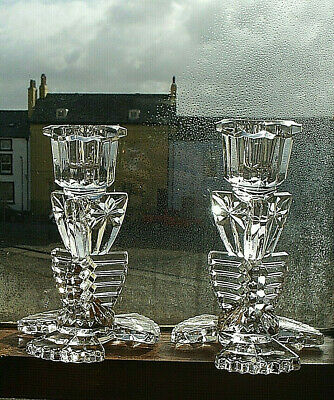 Pair Of Vintage Art Deco Style Clear Glass Candlesticks • 7.80£