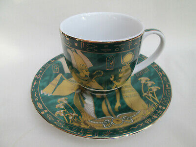 Beautiful Green & Gold Gilt Limoges Egyptian Cup And Saucer Made In Egypt • 9.95£