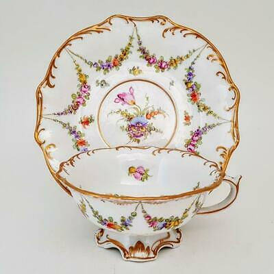 Dresden Raised Gold & Floral Sprays Hand Painted Footed Cabinet Cup & Saucer • 52£