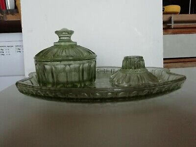 Set Of Pale Light Green Glass Sugar Pot Candlestick And Tray • 14.90£