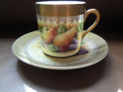 LOVELY BROOKDALE HAND PAINED By J MOTTRM FRUITS COFFEE CAN AND SAUCER • 13£