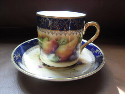 LOVELY BROOKDALE HAND PAINED By J MOTTRM FRUITS COFFEE CAN AND SAUCER DEEP BLUE • 13£